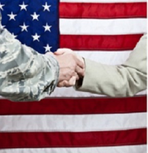 Military Networking - Soldier and Civilain Shaking hands