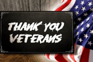 Military Value -- Veterans sign with flag